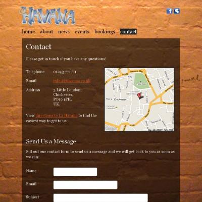 La Havana Contact Page