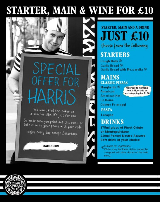Pizza Express HTML email with images enabled