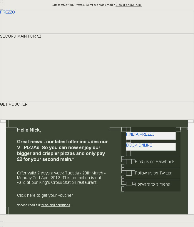 Prezzo HTML email with images enabled